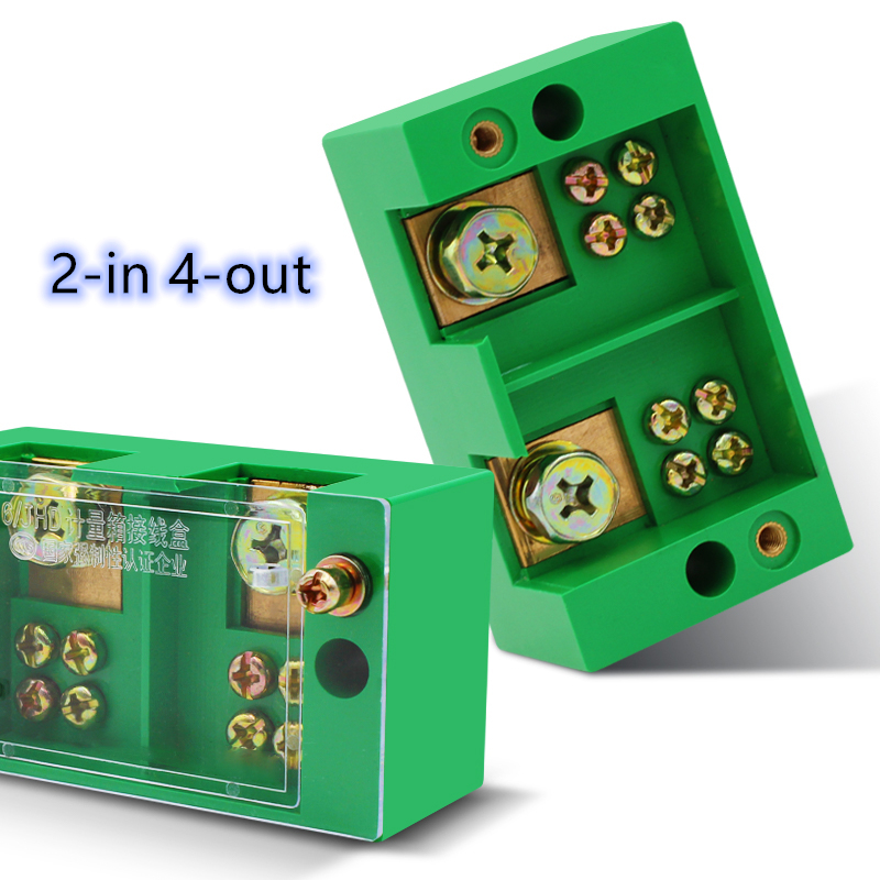 Connection Distribution Box 2-in 4-out Three phase Green Terminal Block Row Junction Metering Box Part Line image