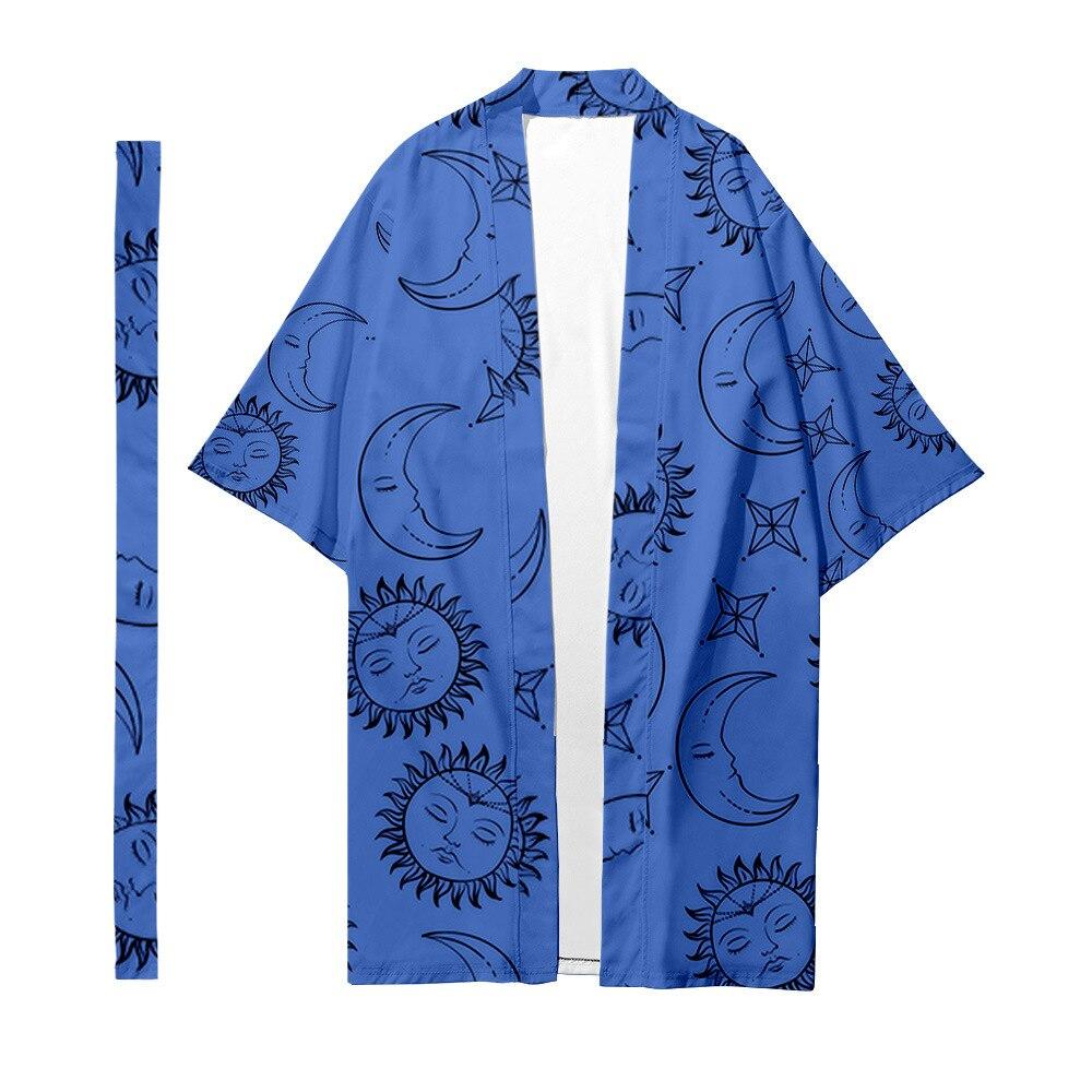 Длинное кимоно с мультяшным принтом Солнца и Луны и звезд, кардиган с поясом, Традиционная японская Парная женская и мужская повседневная а...