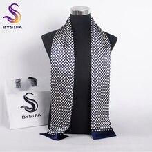 [BYSIFA] 브랜드 남자 실크 스카프 머플러 겨울 패션 액세서리 100% 순수 실크 남성 격자 무늬 긴 스카프 Cravat 네이비 블루 160*26cm
