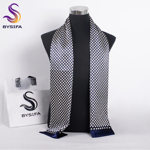Image 1 - [BYSIFA] Brand Men Silk Scarf Muffler Winter Fashion Accessory 100% Pure Silk Male Plaid Long Scarves Cravat Navy Blue 160*26cm