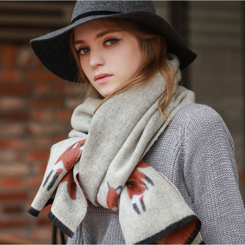Luxury Brand Winter Thicken Warm Cashmere Scarf Fox Printed Scarves And Shawls Lady Foulard Shawl Scarf Thermal Pashmina Echarpe