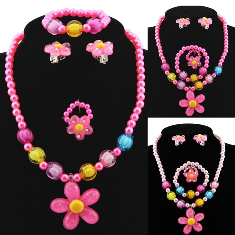 Candy Beads Resin Plastic Kids Jewelry Set For Children Flower Pendants Cute Necklace Bracelet Ring Earrings Baby Jewelry