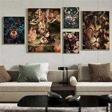 Toile de peinture murale avec Tige de Panda, Lion, cerf, Jungle, affiche d'art nordique, affiches et imprimés, photos murales pour décoration de maison