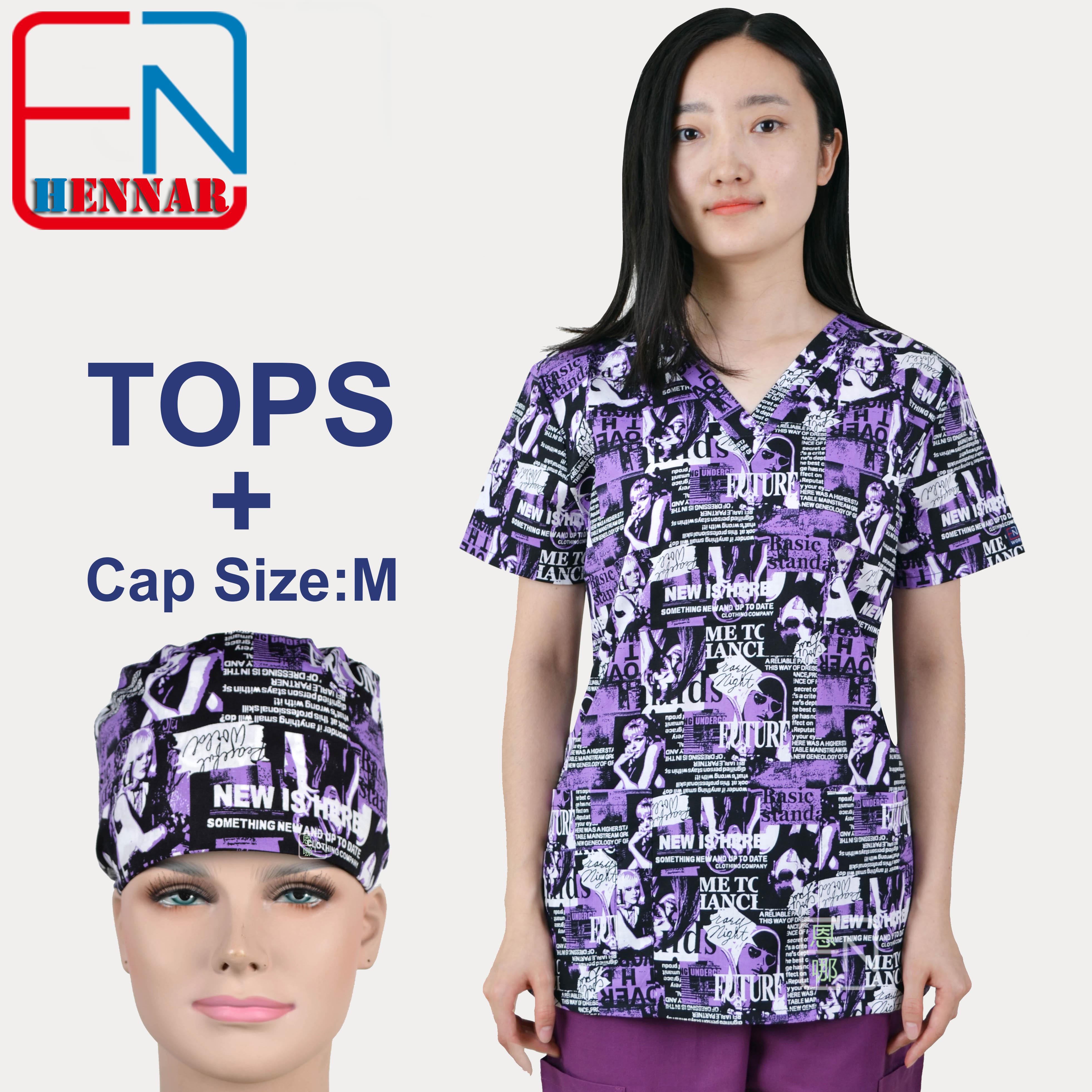 Hennar Print Women Medical Scrub Tops 100% Cotton Hospital Medical Uniforms Doctor Dentist Work Scrub Top V-Neck Short Sleeves