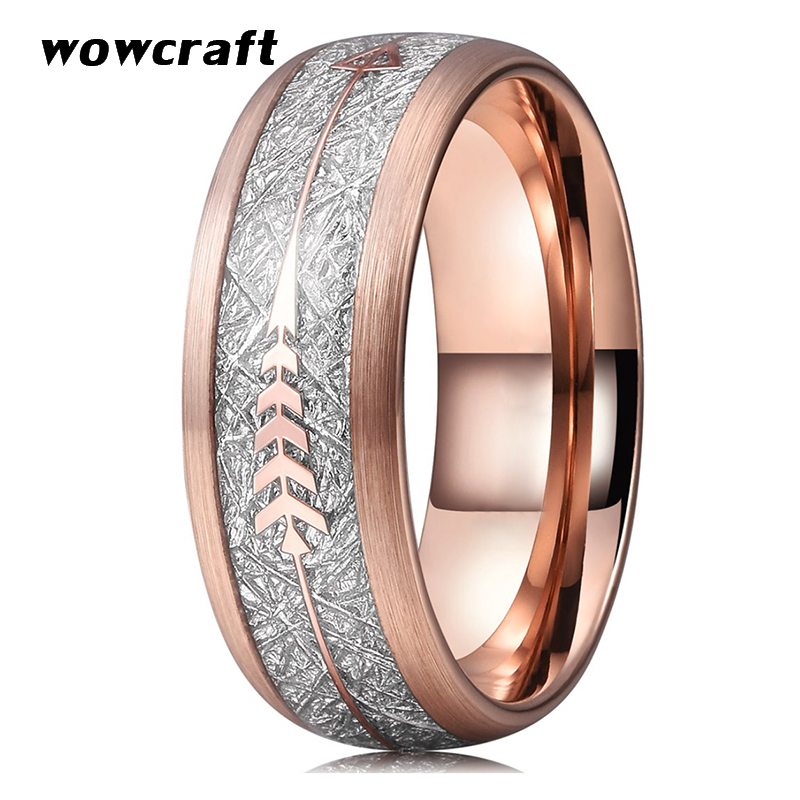 8mm Rose Gold Wedding Bands Tungsten Carbide Rings for Men Women Brushed Finish Domed Meteorite Arrow Inlay Comfort FitRings   -