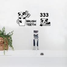 Flower wall stickers on the street brushing Panda bathroom stick cartoon