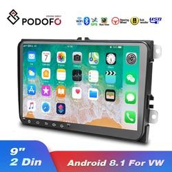 Автомагнитола Podofo, 2 Din, Android 8,1, 9 дюймов, GPS, Wi-Fi, Mp5, мультимедийный плеер для VW, Volkswagen, SKODA, GOLF, POLO, PASSAT, JETTA, TIGUAN
