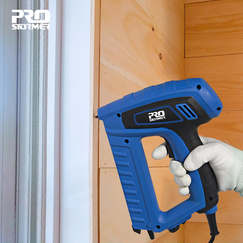 2000W Woodworking Eletric Nail Gun 220V Nailer Stapler Straight Door Nail Staplers Portable Electric Tacker Gun by PROSTORMER(China)