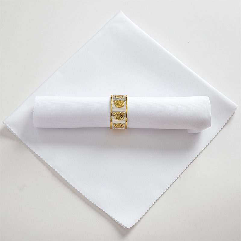 Solid Color White Wedding Table Cloth Napkins Recycled Textile Napkins Polyester Restaurant Handkerchie Eco-Friendly 48cm Square