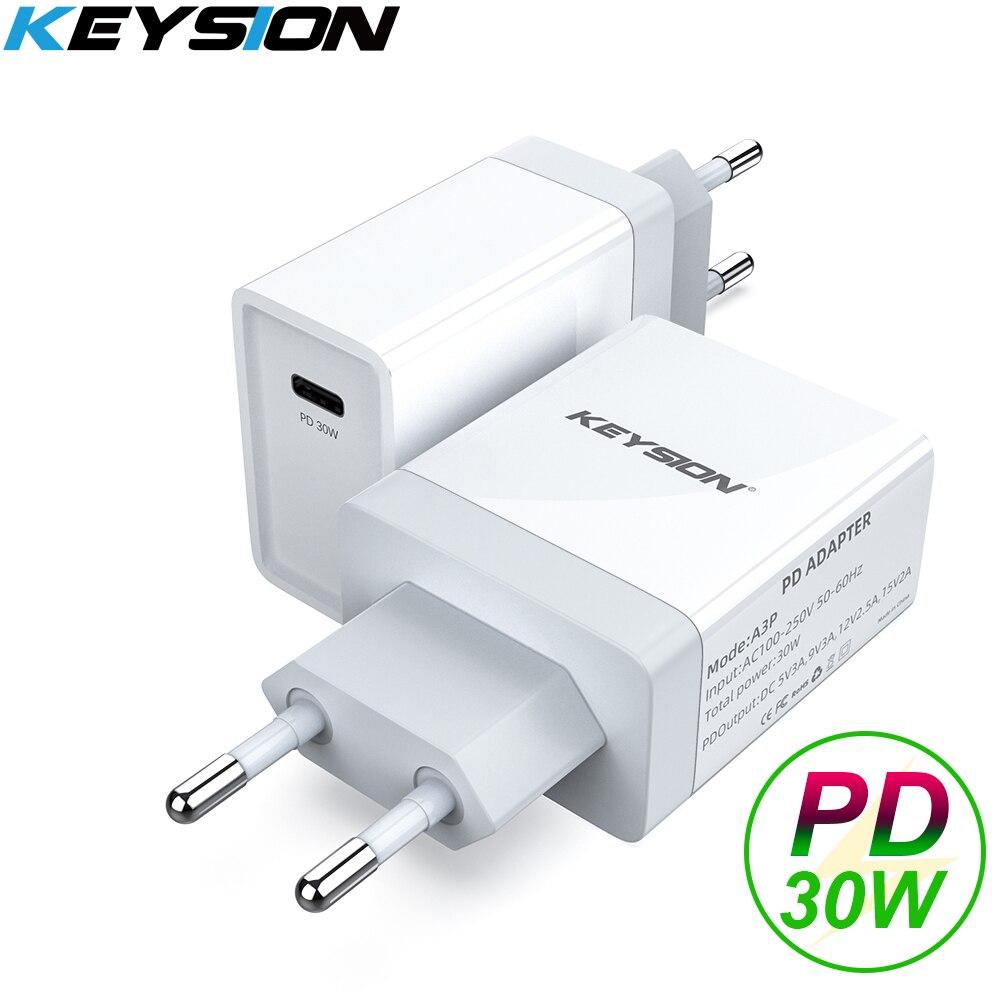 KEYSION 30W USB C PD chargeur rapide pour iPhone 11 Pro Max XR XS MacBook Air USB adaptateur mural Charge pour Samsung S20 S9 Xiaomi Mi10