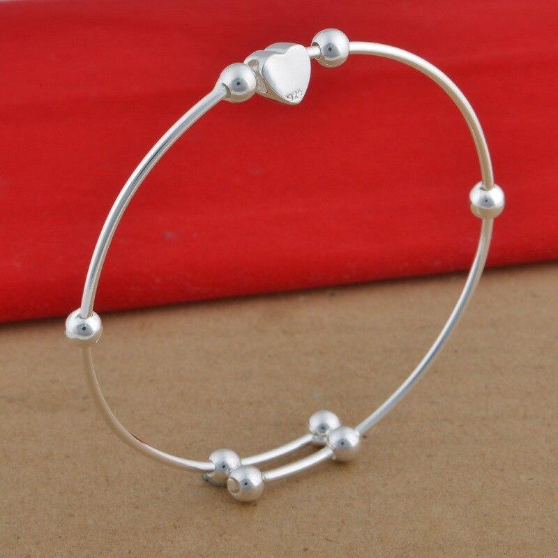 Горячая 925 пробы серебряный браслет 925 Серебряные модные ювелирные изделия маленькое сердце браслет Afsaiwza Aiiaizpa - Цвет камня: 925 sterling silver