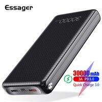 Essager 30000 mah 전원 은행 빠른 충전 3.0 pd usb c 30000 mah powerbank xiao mi mi 노트북 휴대용 외장 배터리 충전기