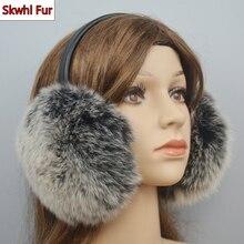 New Arrival Women Plush Genuine Real Fox Fur Earmuff Winter Lady Big Fox Fur Fluffy Earmuffs Warm 100% Real Fox Fur Ear Cover