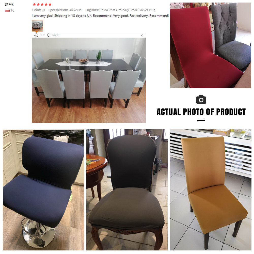 Solid Color Chair Cover of Spandex Material with Elastic for Dining Room and Wedding Hall 4