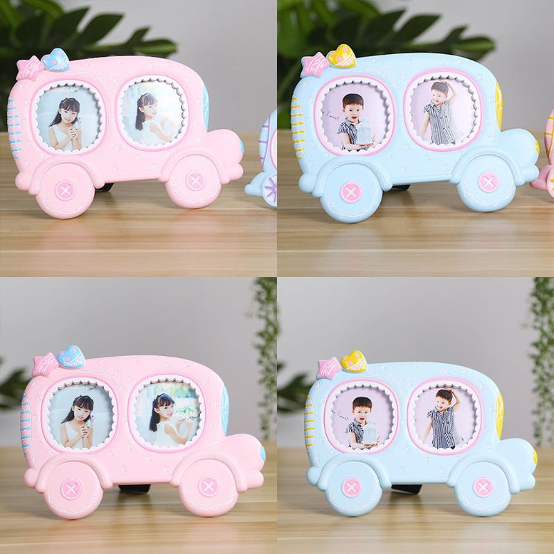Baby Cartoon Cute Car Shape Photo Frame Infant Year Old Growth Picture Holder Birthday Gifts Desktop Ornaments Home Decoration