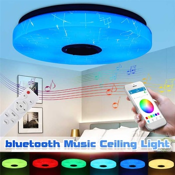 80W LED Music Ceiling Light RGB bluetooth Speaker Lamp Home Party Bedroom AC220/85-265V Remote Dimmable+APP Smart Colorful Light