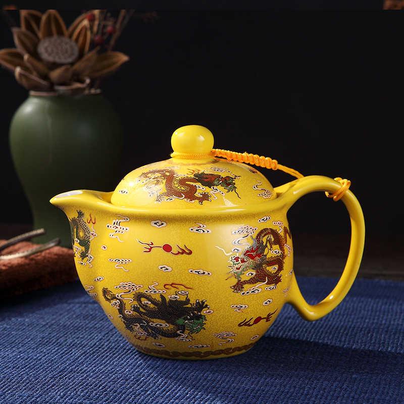 Чайник керамический фарфоровый чайник с крышка фильтра комплект с узором в виде дракона горшок 430 мл Винтаж воды чайные принадлежности Чай изделия украшения