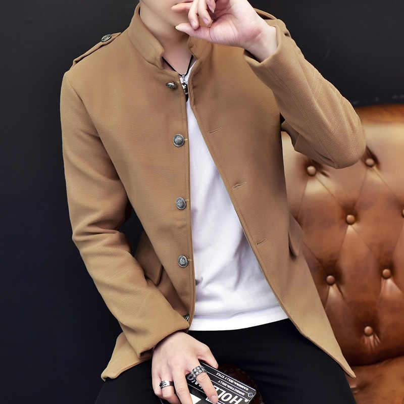 Hombres gabardina hombres Otoño Invierno rompevientos abrigo largo diseño trinchera macho moda mandarín Collar abrigos y chaquetas