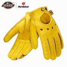 New Genuine Sheepskin Leather Motorcycle Gloves Men Vintage Motorbike Full Finger Gloves Retro Biker Touchscreen Moto Gloves