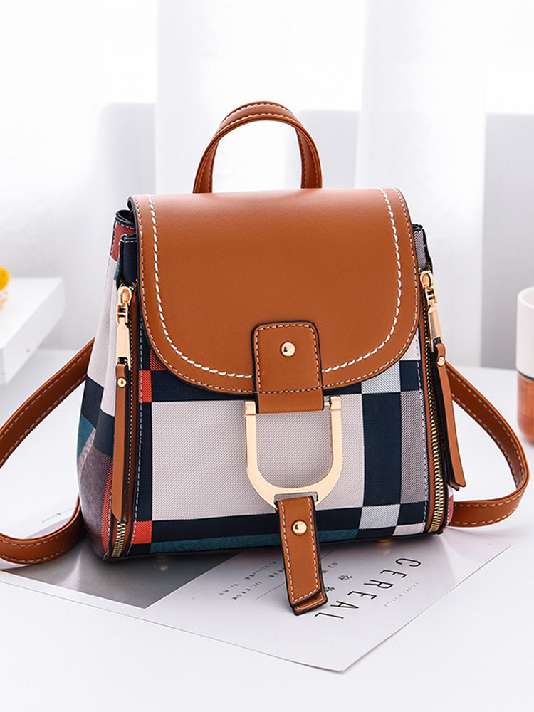 Women Backpack Purse Travel-Bag Multiple-Using Female Free-Gift Girls with Grid