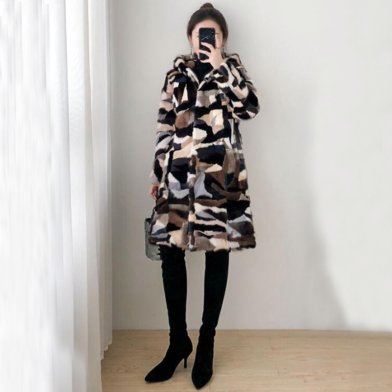 Jacket Coat Hooded Natural-Fur Brown Plus-Size Winter Women Long with Sr689 Oversized