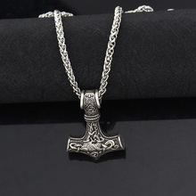 dropshipping 1pcs thor's hammer mjolnir pendant necklace viking scandinavian norse viking necklace with stainless steel chain