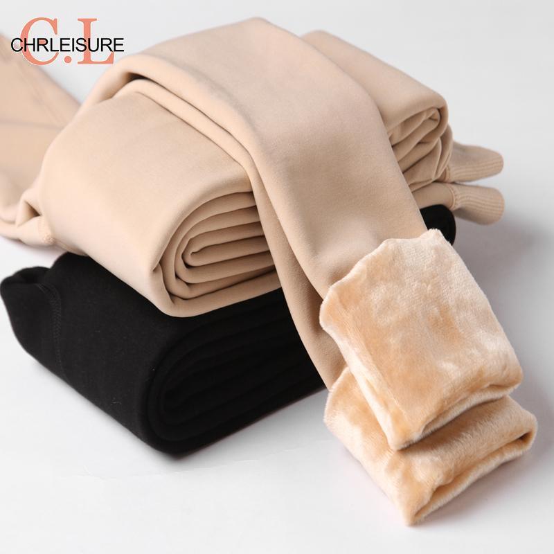 Женские теплые леггинсы CHRLEISURE, зимние эластичные утепленные бархатные леггинсы с высокой талией и эффектом пуш-ап для девочек