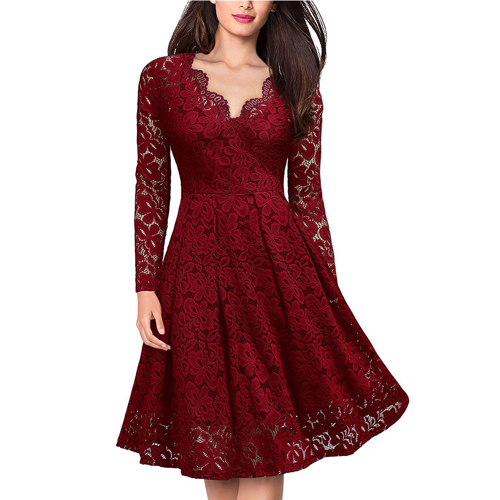 Women Party Dress Elegant V-neck Lace Long Sleeve Red Slim Casual Bodycon Plus Size 3X LFemale Ladies Summer Dress
