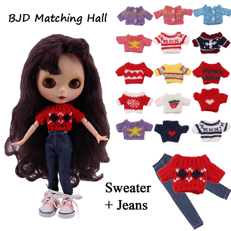 Set Doll Clothes=1Sweater + 1Jeans + 1Shoes For BJD 30Cm 1/6 Blyth Doll Accessories Generation Girl's Christmas Birthday  Gift
