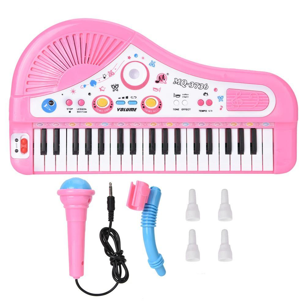 Cute Pink 37-key Keyboard With Microphone Musical Digital Electronic Chargeable Baby Piano Music Learning Educational Kids Toys