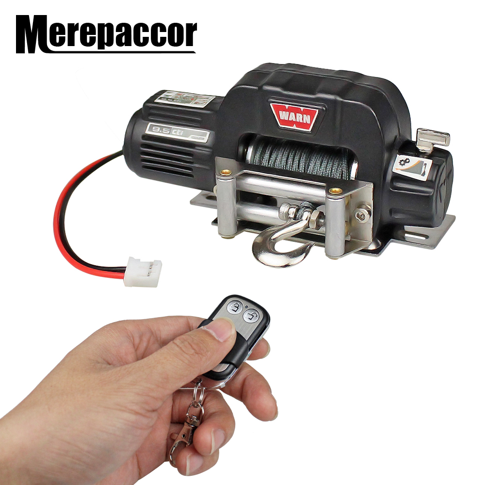 MEREPACCOR Rc Car Metal Steel Wired Automatic Simulated Winch For 1/10 Rc Crawler Car Axial Scx10 90046 D90 Traxxas Trx4(China)