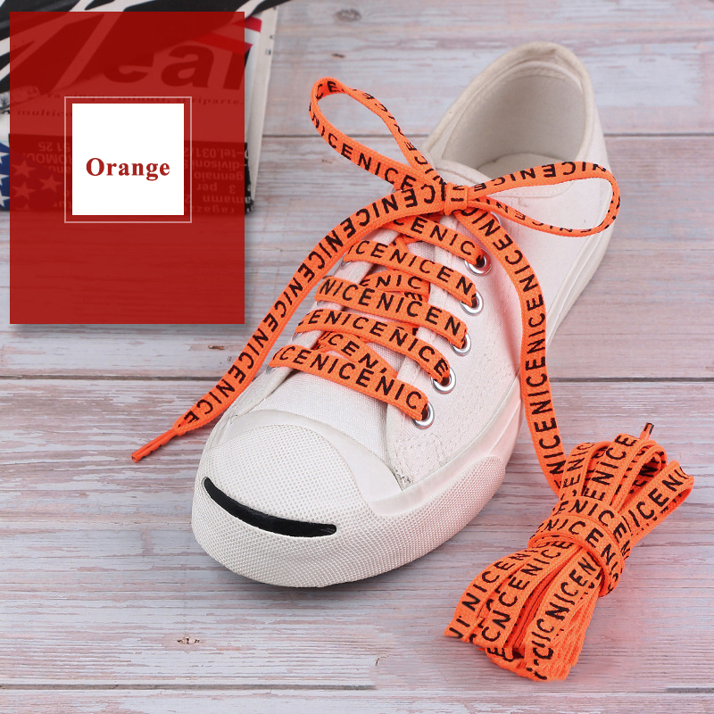 1CM Width 100cm/120cm Length Canvas Shoelaces For Women Men 1 Pair Letter