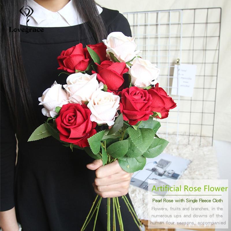 Lovegrace Single Branch Rose Flower Artificial Silk Rose DIY Bridesmaid Bouquet Flower Arrangement Champagne Home Wedding Decor