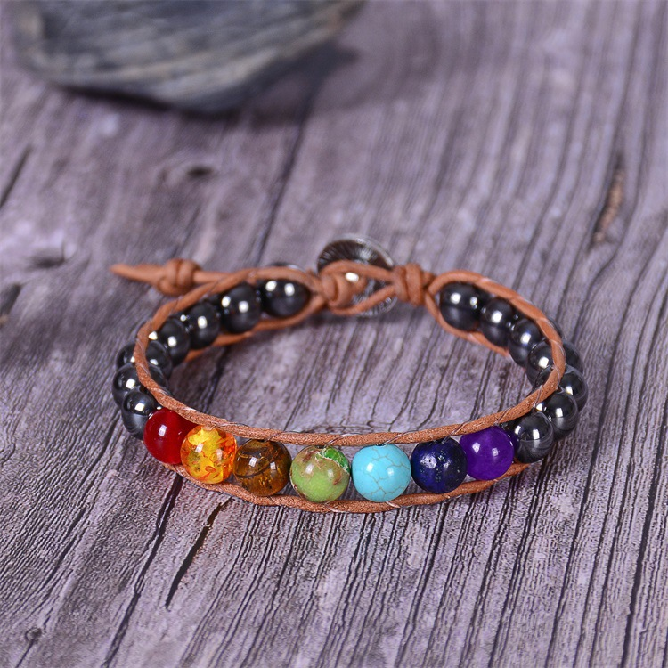 Ha73af010c47c4e5390fa199bd7a24802j - New Colorful 7 Chakra Bead Leather Rope Braided Bracelet Natural Tiger's Eye Volcanic Stone Energy Yoga Bracelet Women Jewelry