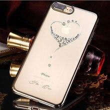 Bling Diamants Cristal étui pour iphone 8plus 7plus Marque De Luxe Strass Transparent Dur Couverture de Téléphone Antichoc Kingxbar