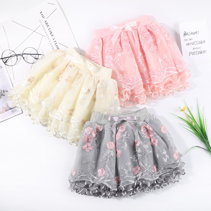 2021 New Summer Baby Girl Pleated Skirts Pretty Flowers Embroidery Mesh Tutu Ballet Girls Lace Dance Tulle Princess Skirt 2-8Y