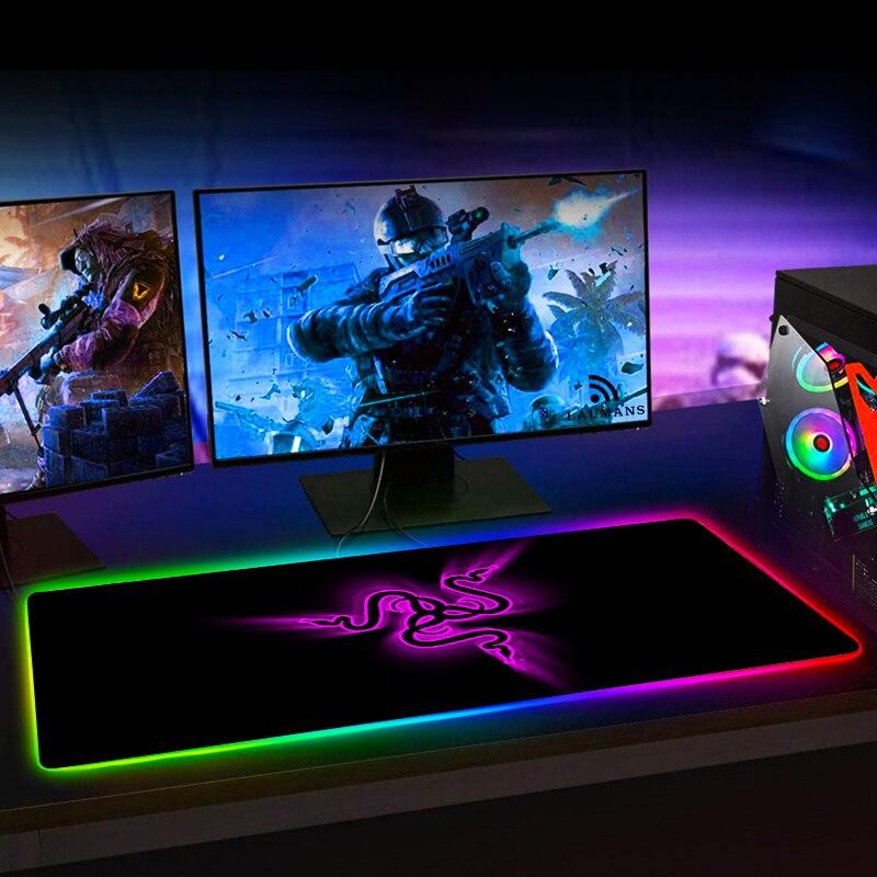 RGB игровой коврик для мыши Razer, большой светодиодный компьютерный геймерский коврик для мыши, большой коврик для мыши xxl, коврик для клавиатуры, Настольный коврик с подсветкой-1