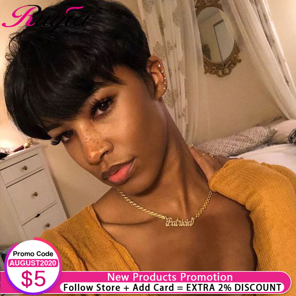 Short Human Hair Wigs For Women Full Machine Wig Straight Pixie Cut Wig Natural Remy Human Hair Wig None Lace Peruvian Short Wig