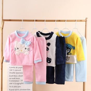 Kombinezon dziecięcy flanelowa zimowa piżama dla niemowląt garnitur noworodka piżama piżamy chłopięce ubrania dla dzieci w wieku 10-2 lat tanie i dobre opinie Poliester CN (pochodzenie) Cartoon Skręcić w dół kołnierz Unisex Pełna REGULAR Flanelowe