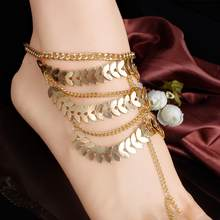 Women Anklets Leaf Charm Toe Ring Multilayer Anklet Ankle Chain Bracelet Foot Jewelry Anklets for Women Foot Accessories(China)