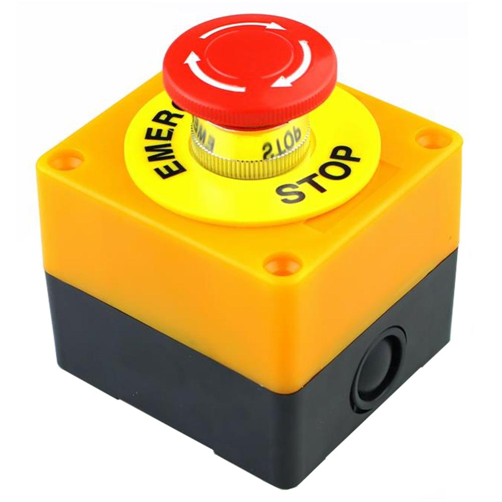 Plastic Waterproof Emergency Push Button Switch Red Mushroom Head DPST Control