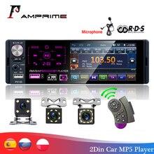 """AMPrime autorradio 1 din con pantalla táctil de 4,1 """"para coche, micrófono, RDS, estéreo, bluetooth, cámara de visión trasera, reproductor usb aux"""