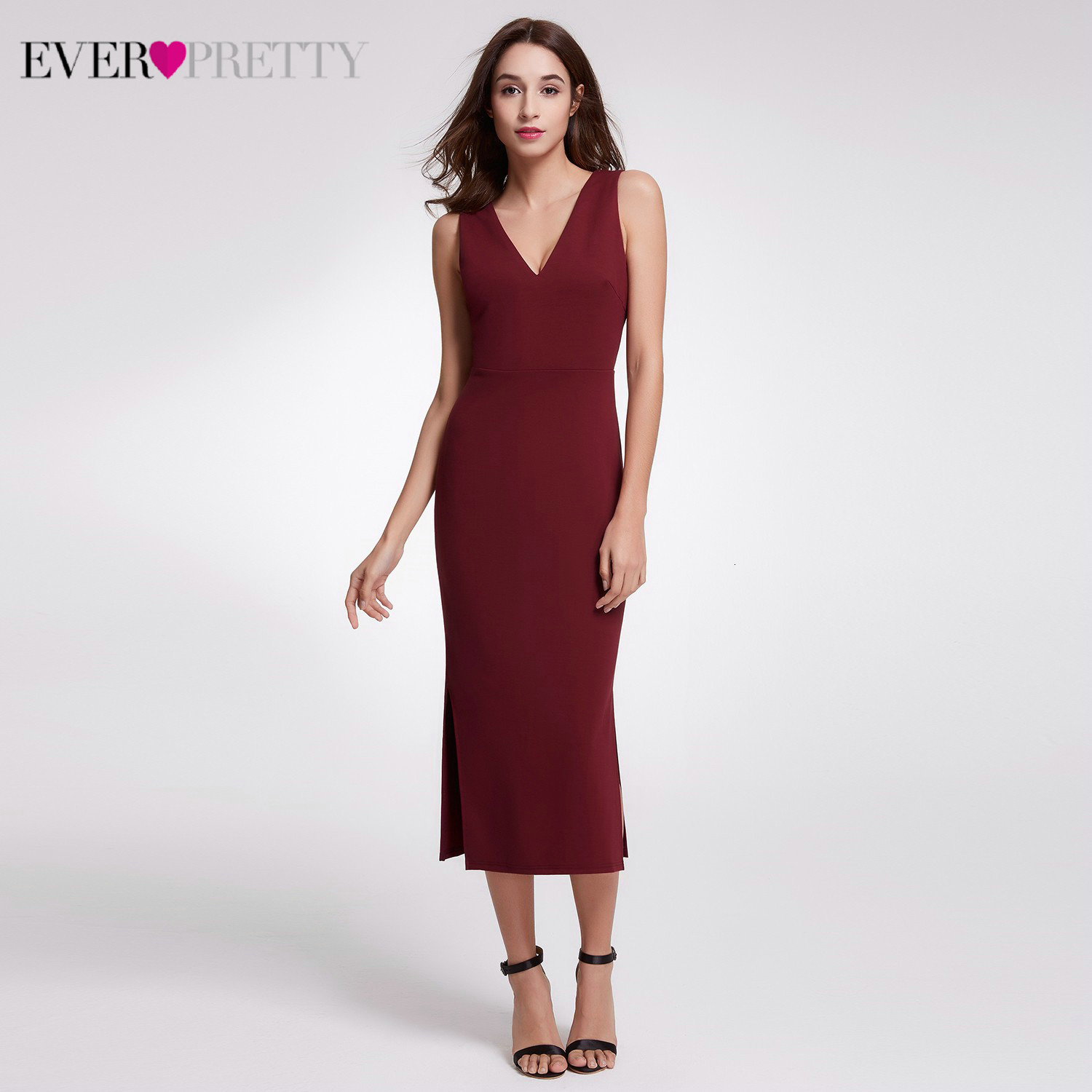 Burgundy Cocktail Dresses Ever Pretty Mermaid Deep V-Neck Sleeveless Straight Sexy Evening Party Gowns Vestidos De Fiesta 2019
