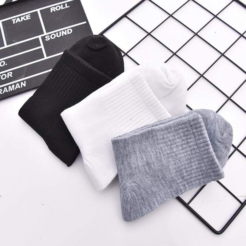 10pairs/lot  Solid Men's Socks Long Cotton Socks Man Women Casual Business Short Socks Black White Gray Calcetines hombre