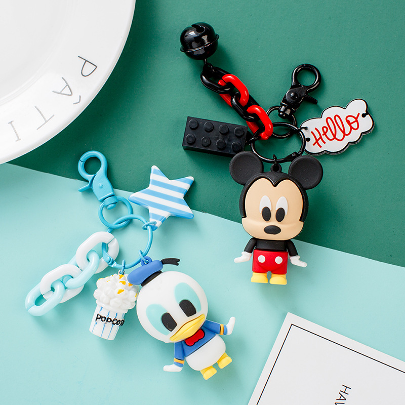 2020 New Fashion Cute Keychain PVC Cartoon Figure Mickey Super Mario Trolls Key Chain Mini Anime Key Ring Minnie Key Holder image