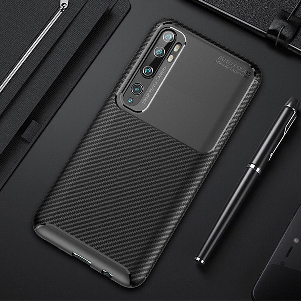 For Xiaomi Mi Note 10 Pro Case Luxury Carbon Fiber Cover Shockproof Phone Case For Mi Note 10 CC9 CC 9 Pro Cover Flex Bumper
