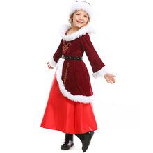 купить Deluxe Santa Claus Costume Cosplay Girls Christmas Costume For Kids Santa Claus Dress Suit Clothes недорого