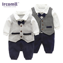 Ircomll 2018 Fashion Baby Boy Clothing Cotton Tie Bow Gentleman Infant Boys Rompers Newborn Bebe Jumpsuit Baby Bodie Outerwear long sleeves baby boys infant jumpsuit summer baby clothing fashion gentleman bow triangle romper bebe newborn body baby clothes