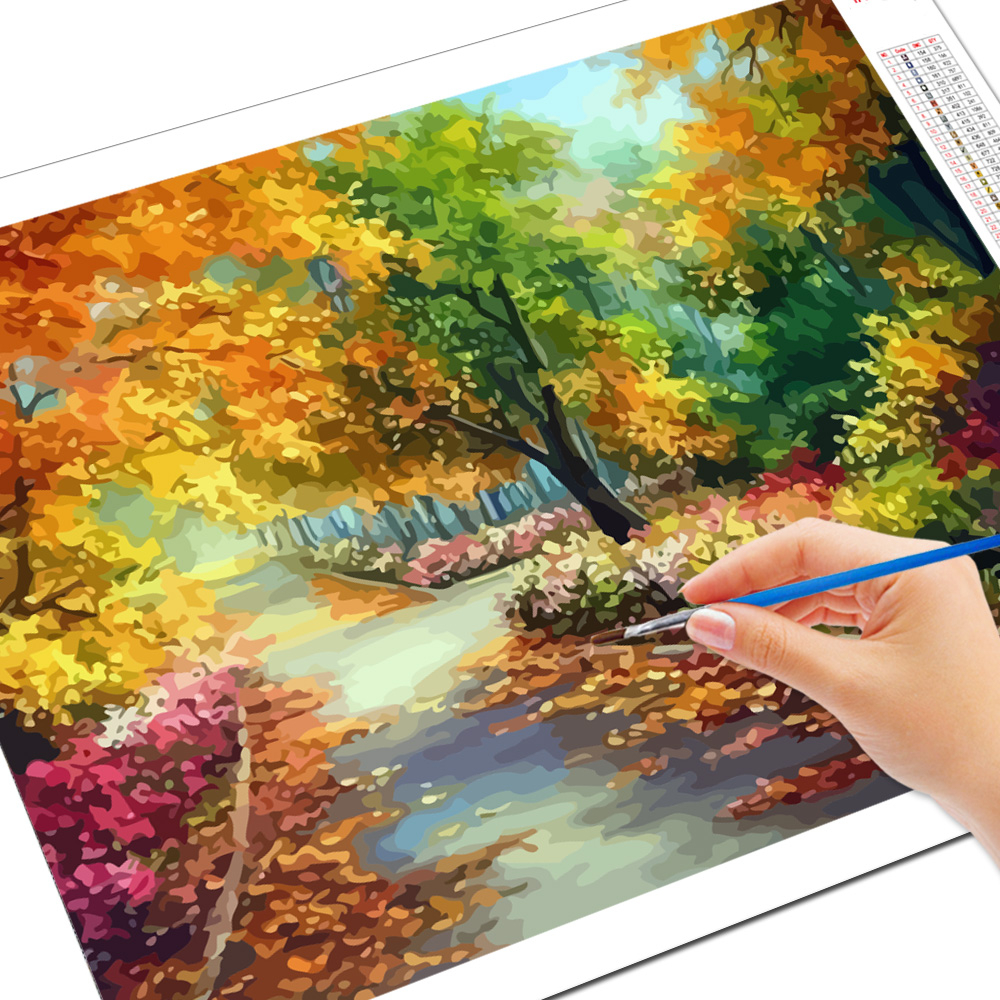 EverShine Painting By Numbers Natural Scenery Oil Paint By Numbers For Adults Autumn On Canvas HandPainted Home Decor-2