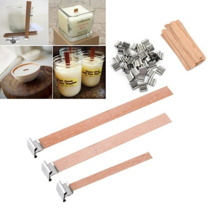 50pcs/lot 50/60/90/130/150mm Wooden Wick Candles With Candle Holder Wooden Wick Core For Supply Of Soybean Wax Candles Parffin